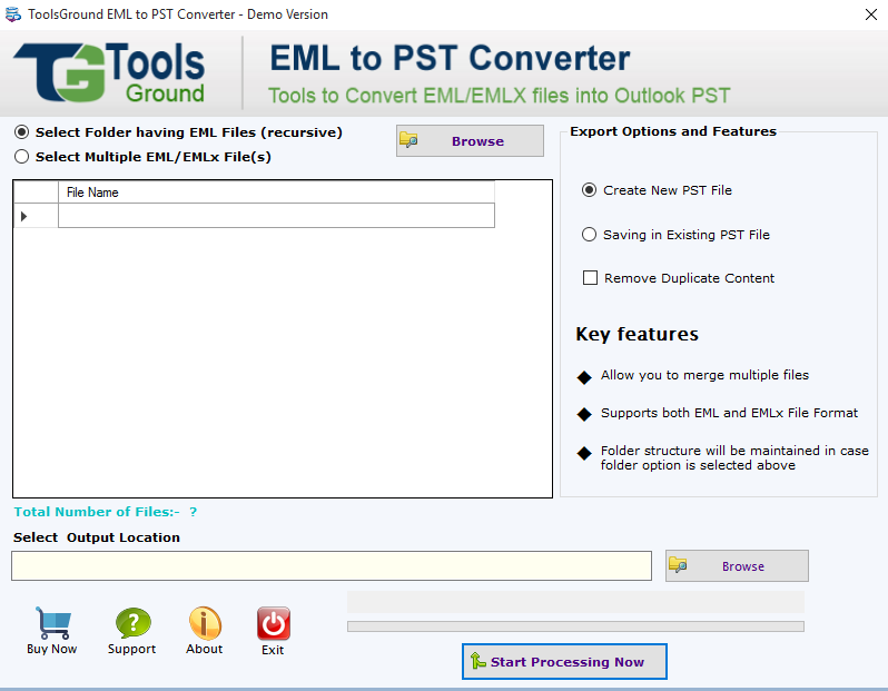 ToolsGround EML to PST Converter Screenshot